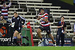 Ahsee Tuala sprints down the right wing on his way to scoring the Steelers third try. ITM Cup rugby game between Counties Manukau and Manawatu played at Bayer Growers Stadium on Saturday August 21st 2010..Counties Manukau won 35 - 14 after leading 14 - 7 at halftime.