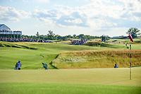 Brooks Koepka (USA) chips on to 18 during Sunday's round 4 of the 117th U.S. Open, at Erin Hills, Erin, Wisconsin. 6/18/2017.<br /> Picture: Golffile | Ken Murray<br /> <br /> <br /> All photo usage must carry mandatory copyright credit (&copy; Golffile | Ken Murray)