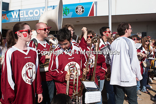Union's pep band waits for their turn to entertain at the red carpet. - The Union College Dutchmen defeated the University of Minnesota Golden Gophers 7-4 to win the 2014 NCAA D1 men's national championship on Saturday, April 12, 2014, at the Wells Fargo Center in Philadelphia, Pennsylvania.