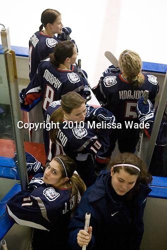Jody Sydor (UConn - 4), Brittany Murphy (UConn - 8), Amy Hollstein (UConn - 10), Jaclyn Camardo (UConn - 11), ?, Casey Knajdek (UConn - 5) - The University of Connecticut Huskies defeated the Northeastern University Huskies 4-1 in Hockey East quarterfinal play on Saturday, February 27, 2010, at Matthews Arena in Boston, Massachusetts.