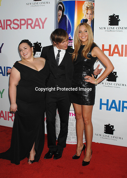 "Nikki blonsky and Zac Efron and Amanda Bynes..arriving at the New York Premiere of ""Hairspray"" on         July 16, 2007 at The Ziegfeld Theatre. ..Robin Platzer, Twin Images......212-935-0770"