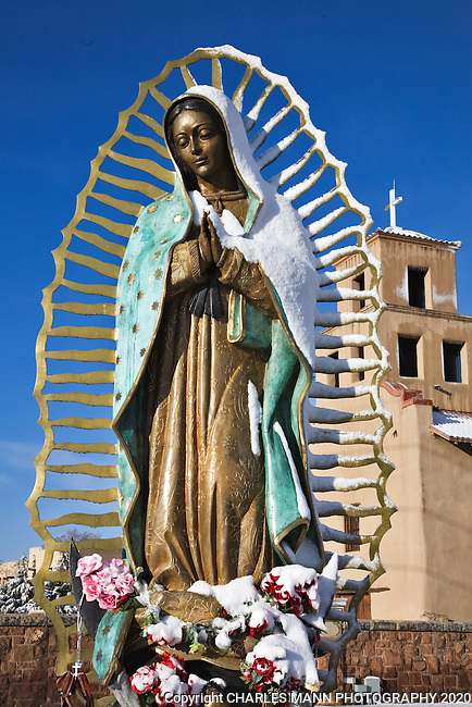 A large statue of the Virgin of Guadalupe adorns the shrine near the Santuario de Guadalupe in Santa Fe, New Mexico.