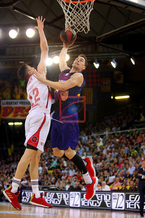League ACB-ENDESA 201/2019.Game 38.<br /> PlayOff Semifinals.1st match.<br /> FC Barcelona Lassa vs Tecnyconta Zaragoza: 101-59.<br /> Carlos Alocen vs Kyle Kuric.