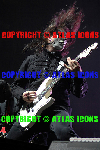 Slipknot Performs on there All Hope Is Gone World Tour (2008–2009).(#4) Jim Root – guitars .Photo Credit: Eddie Malluk/AtlasIcons.com