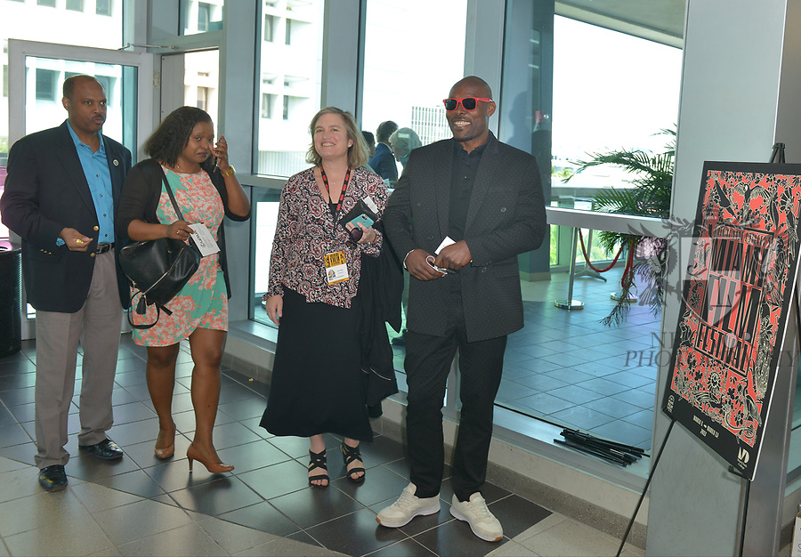 MIAMI, FL - MARCH 04: David César, Bernadette Williams, Christy McGill, Anne Flatté and Actor Jimmy Jean-Louis attend the Miami Film Festival screening for 'Serenade for Haiti' at Regal South Beach on March 4, 2017 in Miami, Florida.  ( Photo by Johnny Louis / jlnphotography.com )