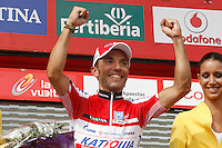 Joaquin Rodriguez with the red jersey of leader after the stage of La Vuelta 2012 between Cambados and Pontevedra.Individual Time Trials.August 29,2012. (ALTERPHOTOS/Paola Otero)