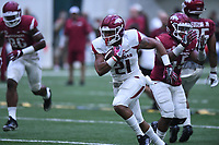 NWA Democrat-Gazette/J.T. WAMPLER Image from University of Arkansas football Saturday April 29, 2017 during a red-white scrimmage. The scheduled practice was closed to the general public and moved indoors because of thunderstorms.