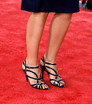 "Actress Katie Holmes 's shoes at the Los Angeles Premiere Of ""Tropic Thunder"" at the Mann's Village Theater on August 11, 2008 in Los Angeles, California."