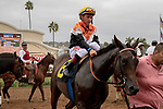 DEL MAR, CA  SEPTEMBER 3: #6 Summering, ridden by Drayden Van Dyke, with the connections after winning the Del Mar Juvenile Fillies Turf on September 3, 2018, at Del Mar Thoroughbred Club in Del Mar, CA.(Photo by Casey Phillips/Eclipse Sportswire/Getty Images)