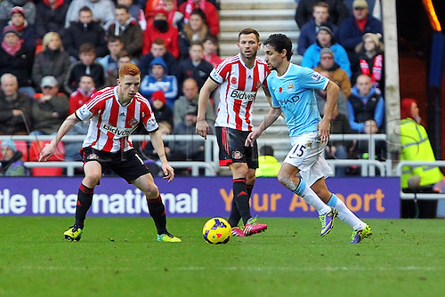 10.11.2013 Sunderland, England. Jesús Navas of Manchester City  during the Premier League game between Sunderland and Manchester City from the Stadium of Light.