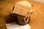 Close up of jar Christmas gift tag spicy apple chutney present