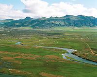 Landbrot, Haffjarðará, Borgarbyggð áður Kolbeinsstaðahreppur, loftmynd. /.Landbrot deserted farm, Haffjardará salmon river, Borgarbyggd former Kolbeinsstadahreppur. Aerial.