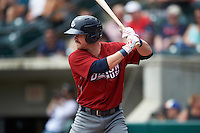 Lehigh Valley IronPigs designated hitter Andrew Knapp (15) at bat during a game against the Columbus Clippers on May 12, 2016 at Huntington Park in Columbus, Ohio.  Lehigh Valley defeated Columbus 2-1.  (Mike Janes/Four Seam Images)