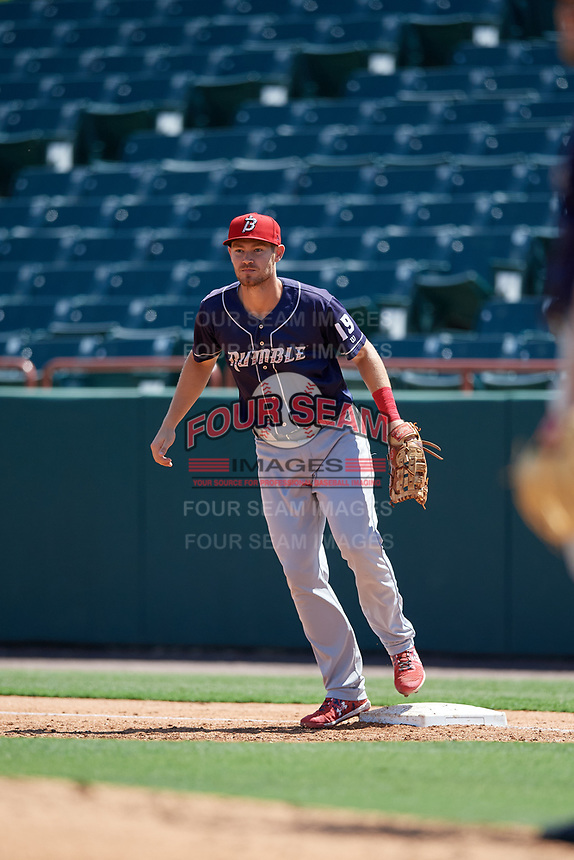 Binghamton Rumble Ponies first baseman Patrick Mazeika (19) waits for a throw during an Eastern League game against the Bowie Baysox on August 21, 2019 at Prince George's Stadium in Bowie, Maryland.  Bowie defeated Binghamton 7-6 in ten innings.  (Mike Janes/Four Seam Images)