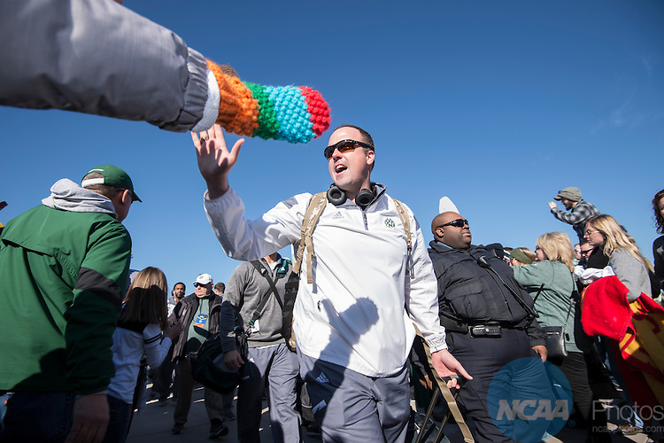 19 DEC 2015:  Head coach Adam Dorrel of Northwest Missouri State University high fives fans before the Division II Men's Football Championship held at Sporting Park in Kansas City, KS. Northwest Missouri State defeated Shepherd 34-7 for the national title.  Justin Tafoya/NCAA Photos