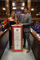 Pictured: Chris Coleman with wife Charlotte Jackson and his Freedom of the City honour Thursday 20 October 2016<br />