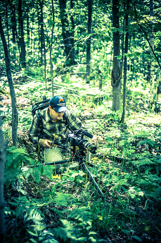 Behind the scenes photography from filming mountain biking in Marquette, Michigan.