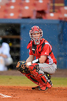 Bradley Braves catcher Austin Jarvis #17 during a game against the Dartmouth Big Green at Henley Field on March 22, 2013 in Lakeland, Florida.   Dartmouth defeated Bradley 7-4 the following day after rain delay.  (Mike Janes/Four Seam Images)
