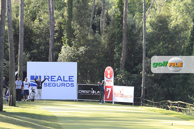 Graeme Storm (ENG) on the 7th tee during Round 3 of the Open de Espana  in Club de Golf el Prat, Barcelona on Saturday 16th May 2015.<br /> Picture:  Thos Caffrey / www.golffile.ie