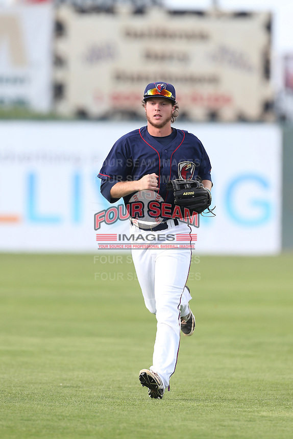 Brett  Phillips #15 of the Lancaster JetHawks during a playoff game against the Inland Empire 66ers at The Hanger on September 7, 2014 in Lancaster, California. Lancaster defeated Inland Empire, 5-2. (Larry Goren/Four Seam Images)