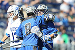 08 February 2015: Air Force's Christopher Allen (right) celebrates scoring Air Force's first goal with Austin Smith (8). The Duke University Blue Devils hosted the United States Air Force Academy Falcons at Koskinen Stadium in Durham, North Carolina in a 2015 NCAA Division I Men's Lacrosse match. Duke won the game 13-7.