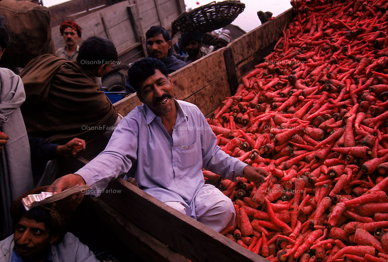 Market scene in Lahore, Pakistan.  4,800 years ago, at the same time as the early civilizations of Mesopotamia and Egypt, great cities arose along the flood plains of the Indus and Saraswati (Ghaggar-Hakra) rivers.  Developments at Harappa have pushed the dates back 200 years for this civilization, proving once and for all, that this civilization was not just an offshoot of Mesopotamia..They were a highly organized and very successful civilization.  They built some of the world's first planned cities, created one of the world's first written languages and thrived in an area twice as large as Egypt or Mesopotamia for 900 years (1500 settlements spread over 280,000 square miles on the subcontinent)..There are three major communities--Harappa, Mohenjo Daro, and Dholavira. The town of Harappa flourished during this period because of it's location at the convergence of several trade routes that spanned a 1040 KM swath from the northern mountains to the coast.