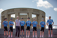 Team Veranda's Willems Crelan at the pre race Team Presentation with the World War I memorial, King Albert I monument, in the background. <br /> <br /> <br /> 1st Great War Remembrance Race 2018 (UCI Europe Tour Cat. 1.1) <br /> Nieuwpoort &gt; Ieper (BE) 192.7 km