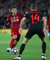 11th March 2020; Anfield, Liverpool, Merseyside, England; UEFA Champions League, Liverpool versus Atletico Madrid;  Roberto Firmino of Liverpool takes on Marcos Llorente of Atletico Madrid