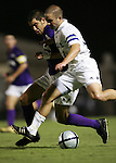 Duke's Danny Kramer (r) tries to push past Western Illinois's Adam Johnson (l) on Tuesday, October 11th, 2005 at Duke University's Koskinen Stadium in Durham, North Carolina. The Duke University Blue Devils defeated the Western Illinois Leathernecks 2-0 during an NCAA Division I Men's Soccer game.
