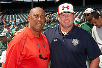 Hall of Fame Chicago Cubs pitcher Ferguson Jenkins meets Roger Clemens before the Under Armour All-American Game powered by Baseball Factory at Wrigley Field on August 18, 2012 in Chicago, Illinois.  (Mike Janes/Four Seam Images)
