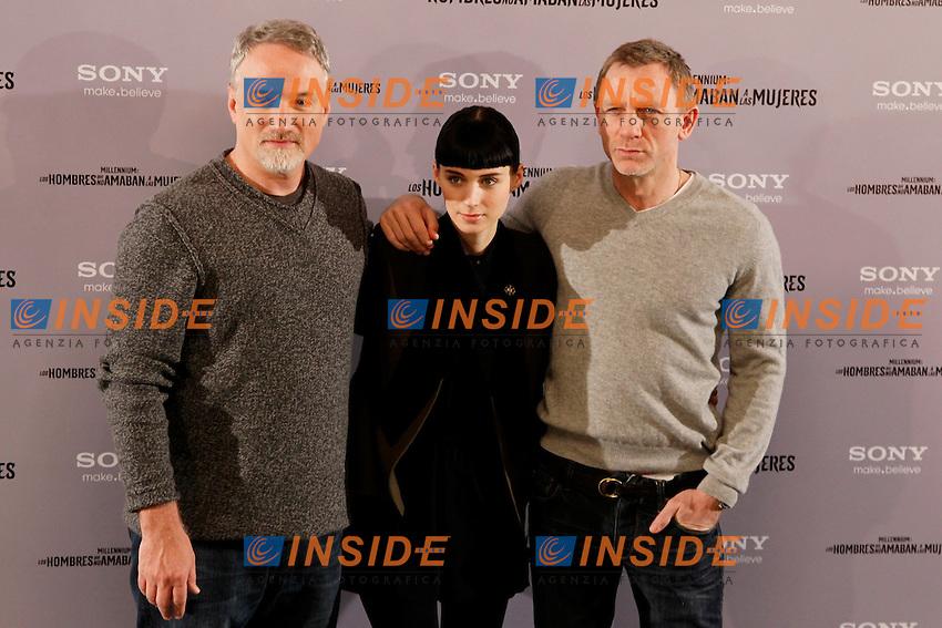 David Fincher, Rooney Mara e Daniel Craig.Madrid 4/1/2012 Hotel Villamagna.'The Girl With The Dragon Tatoo' Photocall .Foto Insidefoto / Alterphotos / Miguel Cordoba