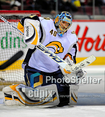 20 December 2008: Buffalo Sabres' goaltender Patrick Lalime warms up prior to facing the Montreal Canadiens at the Bell Centre in Montreal, Quebec, Canada. With both teams coming off wins, the Canadiens extended their winning streak by defeating the Sabres 4-3 in overtime. ***** Editorial Sales Only ***** Mandatory Photo Credit: Ed Wolfstein Photo