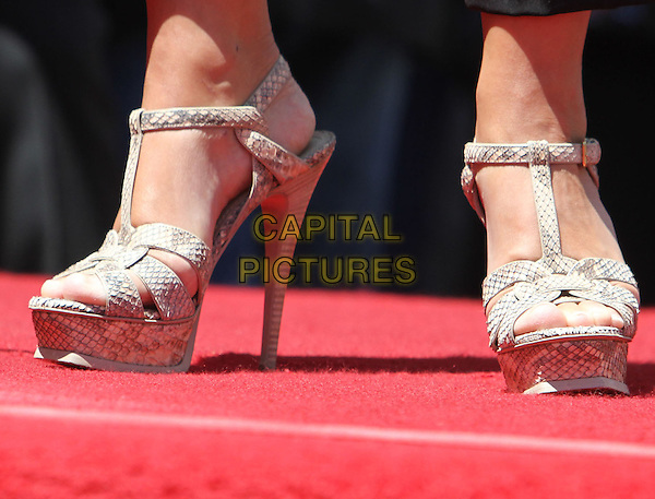 Shania Twain's shoes.Shania Twain Hollywood Walk Of Fame Induction Ceremony  Held On Hollywood Blvd., Hollywood, California, USA..June 2nd, 2011.detail feet heels platform beige grey gray snakeskin.CAP/ADM/KB.©Kevan Brooks/AdMedia/Capital Pictures.