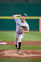 Hudson Valley Renegades starting pitcher Michael Mercado (16) delivers a pitch during a game against the Connecticut Tigers on August 20, 2018 at Dodd Stadium in Norwich, Connecticut.  Hudson Valley defeated Connecticut 3-1.  (Mike Janes/Four Seam Images)