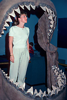 reconstructed jaws of megalodon, Carcharocles megalodon, an extinct species of shark, with adult woman for scale, MR