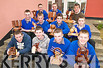 WOODWORK: Students of Presentation Secondary School, Milltown with their Junior Cert woodwork projects, front l-r: Daniel Costello, Anthony Kennedy, Marcus Mangan, Shane Clifford. Middle l-r: Derwin Myers, Colin O'Neill, Daniel Hurley, Darragh Murphy. Back l-r: Christopher Lyne, Sean Deinum, George Evans (Teacher).