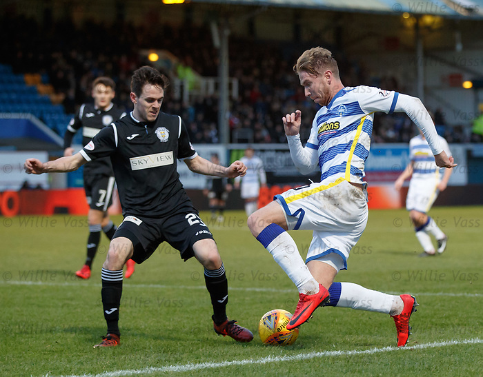 Robert Thomson goes down in the box before Stephen McGinn puts in a challenge