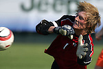 9 November 2005: Virginia Tech goalkeeper Chase Harrison makes a save in the second half. Duke University defeated Virginia Tech 2-0 at SAS Stadium in Cary, North Carolina in a quarterfinal of the 2005 ACC Men's Soccer Championship.