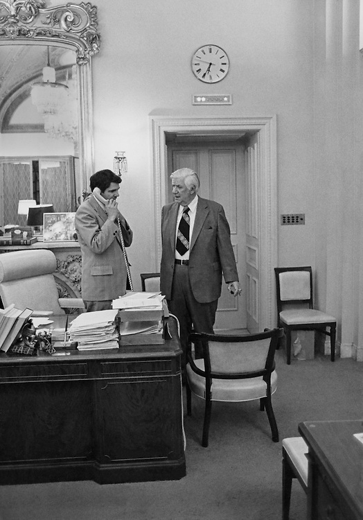 """Gary Hymel, Democratic Congressional Leader and Speaker of the House, Rep. Thomas Phillip """"Tip"""" O'Neill, House Majority Leader in his office. (Photo by Keith Jewell/CQ Roll Call)"""