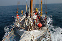 "- schooner Catholica (year of construction 1936 ), used by the Italian environmentalist association "" Legambiente "" for  the campaign  ""Green Schooner""for pollution monitoring in waters of the Italian seas....- goletta Catholica (anno di costruzione 1936), usata dalla associazione ambientalista italiana ""Legambiente"" per la campagna ""Goletta Verde"" per monitorare l'inquinamento delle acque nei mari italiani.."