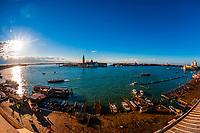 Overview of Riva degli Schiavoni (waterfront), Venice, Italy.