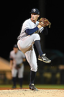 Tampa Yankees pitcher Evan Rutckyj (58) during a game against the Lakeland Flying Tigers on April 5, 2014 at Joker Marchant Stadium in Lakeland, Florida.  Lakeland defeated Tampa 3-0.  (Mike Janes/Four Seam Images)