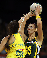 17.10.2012 Australia's Mo'onia Gerrard and South Africa's Chrisna Bootha in action during the Australia v South Africa netball test match as part of the Quad Series played in Newcastle Australia. Mandatory Photo Credit ©Michael Bradley.