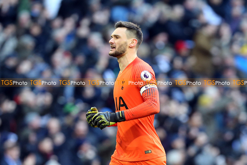 Hugo Lloris of Tottenham Hotspur celebrates Christian Eriksen of Tottenham Hotspur scoring the second goal during Tottenham Hotspur vs Leicester City, Premier League Football at Wembley Stadium on 10th February 2019