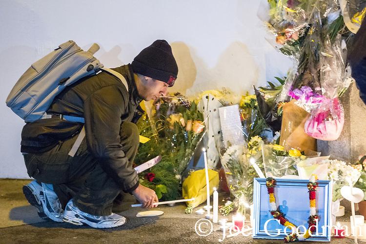 © Joel Goodman - 07973 332324 . 02/01/2012 . Salford , UK . A candlelit vigil is held at the scene of the murder of Anuj Bidve on Ordsall Lane . Bidve was shot and killed by Kiaran Stapleton on 26 December 2011 . Photo credit: Joel Goodman