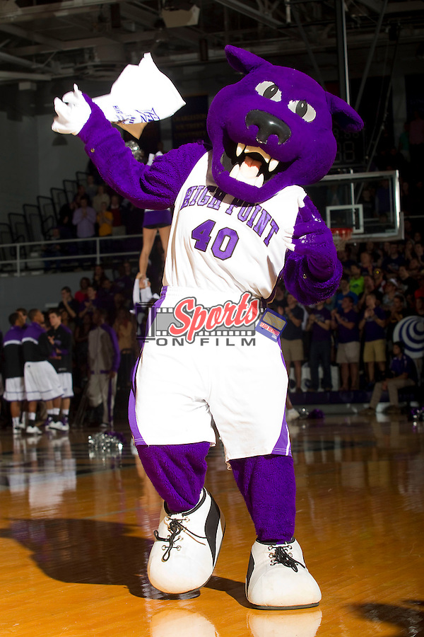 The High Point Panthers mascot tries to get the crowd excited during the game against the UNCG Spartans at Millis Athletic Center on November 9, 2012 in High Point, North Carolina.  The Panthers defeated the Spartans 81-73.   (Brian Westerholt/Sports On Film)
