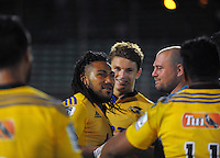 Ma'a Nonu chats with Tony Woodcock after the Super Rugby match between the Hurricanes and Blues at FMG Stadium, Palmerston North, New Zealand on Friday, 13 March 2015. Photo: Dave Lintott / lintottphoto.co.nz