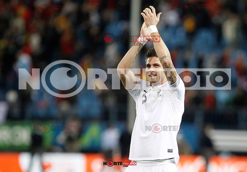 France's national team Olivier Giroud celebrates during match. October 16, 2012. (ALTERPHOTOS/Alvaro Hernandez) /NORTEPhoto