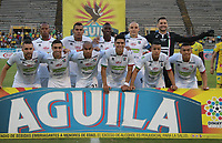 NEIVA- COLOMBIA, 28-04-2019:Formación del Once Caldas ante el Atlético Huila.Acción de juego entre los equipos   Atlético Huila y el Once Caldas  durante partido por la fecha 18 de la Liga Águila I 2019 jugado en el estadio Guillermo Plazas Alcid de la ciudad de Neiva. /Team of Once Caldas agaisnt of Atletico Huila.Action game between teams  Atletico Huila and Once Caldas during the match for the date 18 of the Liga Aguila I 2019 played at the Guillermo Plazas Alcid Stadium in Neiva  city. Photo: VizzorImage / Sergio Reyes / Contribuidor.