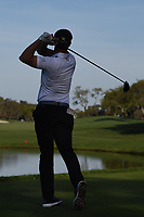 Bryson DeChambeau (USA) watches his tee shot on 12 during round 2 of the Arnold Palmer Invitational at Bay Hill Golf Club, Bay Hill, Florida. 3/8/2019.<br /> Picture: Golffile | Ken Murray<br /> <br /> <br /> All photo usage must carry mandatory copyright credit (&copy; Golffile | Ken Murray)